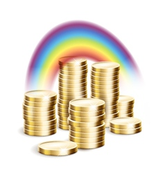 Rainbow over money vector image
