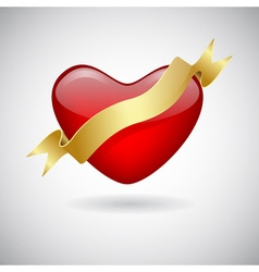 Red heart icon with ribbon vector image vector image