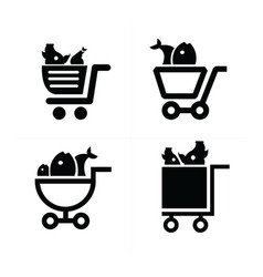 shopping cart icons and food vector image
