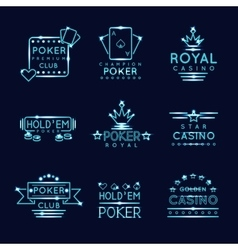 Vintage neon hipster poker club and casino signs vector image vector image