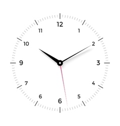 White clock face with black and red pointer on vector image
