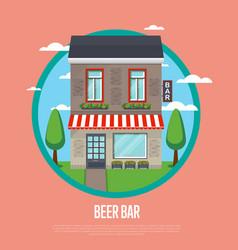 beer bar banner in flat design vector image