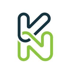 creative letter kn logo vector image vector image