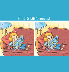find differences game with a cartoon boy vector image vector image