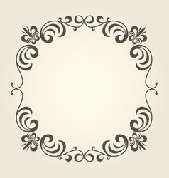 flourish square frame with ornate curly borders vector image vector image