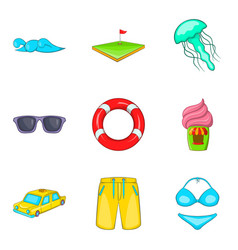 Spare time icons set cartoon style vector