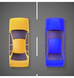 Two car top view vector image