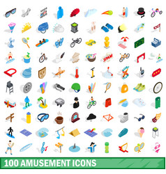 100 amusement icons set isometric 3d style vector image