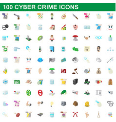 100 cyber crime icons set cartoon style vector