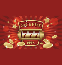 777 jackpot win screen slot mashine vector image