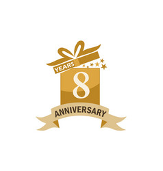8 years gift box ribbon anniversary vector image
