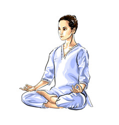 abstract woman meditating from splash vector image