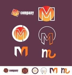 Alphabet letter M logo purple vector image