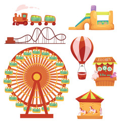 Amusement park set cartoon vector