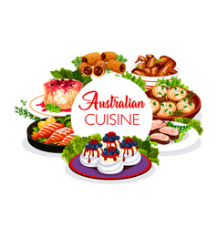 Australian cuisine food dishes traditional meals vector