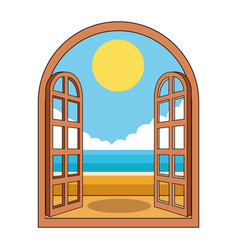 Beach through window vector