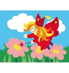 Beautiful cartoon fairy with magic wand on the vector