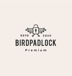Bird padlock hipster vintage logo icon vector