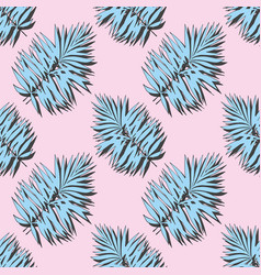 Blue tropical leaves on a pink background vector