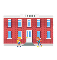 Boy and girl with backpacks running into school vector