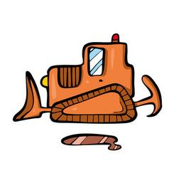 bulldozer on white background cute cartoon vector image