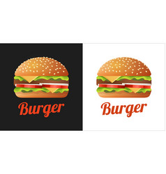 burger logo for cafe shop with fastfood vector image