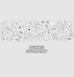 business development doodles objects background vector image