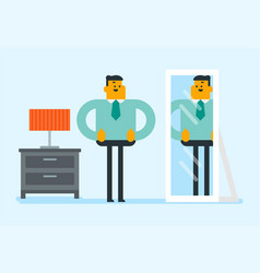 businessman looking at himself in the mirror vector image
