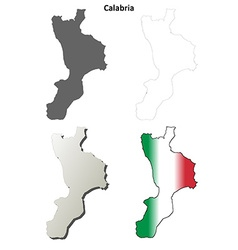Calabria blank detailed outline map set vector image