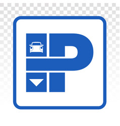 Car parking lot sign with capital p flat icon vector