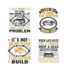 car quote and saying set bundle best for print vector image
