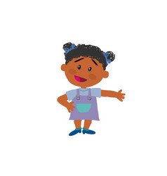 cartoon character black girl showing vector image