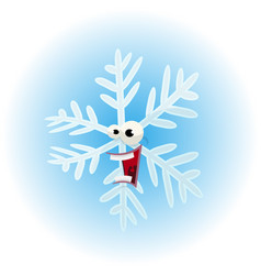 cartoon funny snowflake character vector image