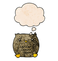 Cartoon owl and thought bubble in grunge texture vector