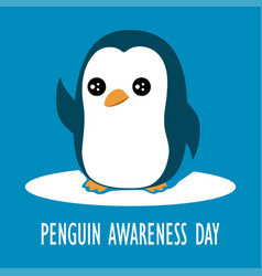 cartoon penguin isolated cute card with animal vector image