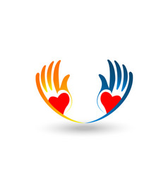 Charitable hands hands showing love icon vector