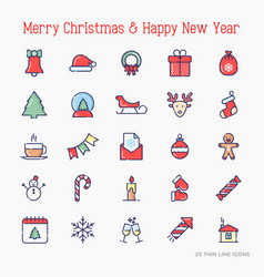 christmas and new year celebration line icons set vector image
