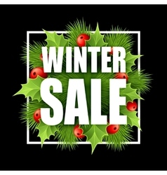 Christmas sale design with holly vector image