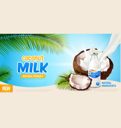 coconut milk realistic poster vector image