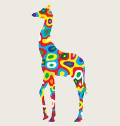 colorfully giraffe vector image