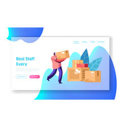 Courier carry box package mail delivery service vector