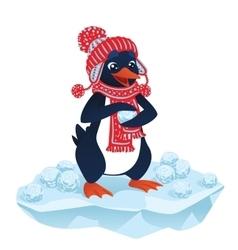 Cute cartoon penguin with snowballs vector