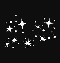 Cute sparkles white galaxy doodle sticker vector
