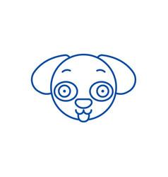 doggy emoji line icon concept doggy emoji flat vector image