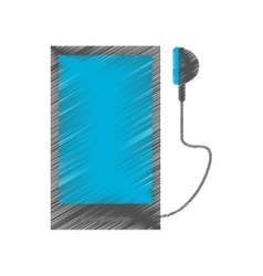 Drawing smartphone mobile music earphones audio vector