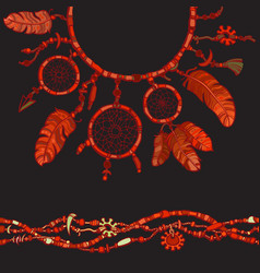 dream catcher seamless border made from beads vector image