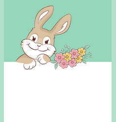 easter bunny greeting card with copy space vector image