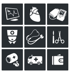 Emergency Medicine Icons Set vector