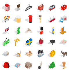 Europe castle icons set isometric style vector