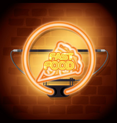 fast food pizza neon label vector image